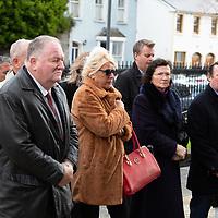Mourners arrive at St Senans Church Kilrush for the funeral of musician Mícheál Ó'Súilleabháin on Monday