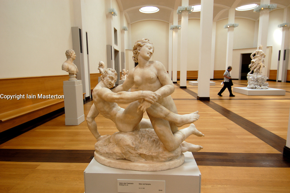 Interior view of sculptures in Gemaldegalerie in Berlin Germany
