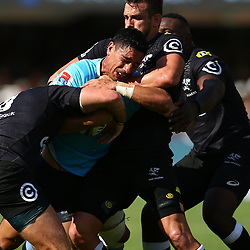 DURBAN, SOUTH AFRICA - MARCH 03: Keegan Daniel of the Cell C Sharks has hold of Lalakai Foketi of the Waratahs during the Super Rugby match between Cell C Sharks and Waratahs  at Kings Park on March 03, 2018 in Durban, South Africa. (Photo by Steve Haag/Gallo Images)