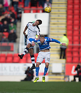 Dundee&rsquo;s Danny Williams oujumps St Johnstone&rsquo;s David Wotherspoon - St Johnstone v Dundee, Ladbrokes Scottish Premiership at McDiarmid Park, Perth. Photo: David Young<br /> <br />  - &copy; David Young - www.davidyoungphoto.co.uk - email: davidyoungphoto@gmail.com