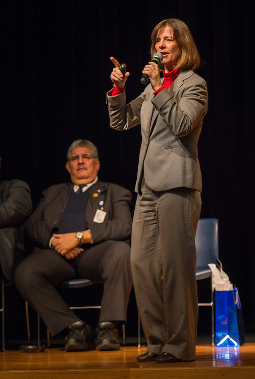 Former astronaut Bonnie Dunbar addresses students during a Science, Technology, Engineering and Math (STEM) symposium at Chavez High School, November 15, 2014.