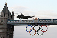 Olympic Torch Flame delivered into the Tower of London by a Royal Navy Sea King helicopter