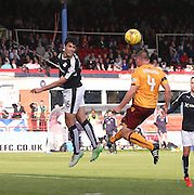 Dundee&rsquo;s Julen Etxabeguren and Motherwell&rsquo;s Liam Grimshaw - Dundee v Motherwell - Ladbrokes Premiership at Dens Park<br /> <br /> <br />  - &copy; David Young - www.davidyoungphoto.co.uk - email: davidyoungphoto@gmail.com