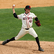 15 April 2018: San Diego State pitcher Justin Goossen-Brown (48) seen here during the fourth inning against Fullerton. The San Diego State baseball team closed out the weekend series against Cal State Fullerton with a 9-6 win at Tony Gwynn Stadium. <br /> More game action at sdsuaztecphotos.com