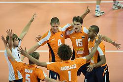 01-07-2012 VOLLEYBAL: EUROPEAN LEAGUE TURKIJE - NEDERLAND: ANKARA<br /> Nederland wint de European League 2012 door Turkije met 3-2 te verslaan / Gijs Jorna (#7 NED), Jelte Maan (#5 NED), Thijs Ter Horst (#4 NED), Nimir Abdel-Aziz (#1 NED), Thomas Koelewijn (#15 NED), Humphrey Krolis (#6 NED)<br /> ©2012-FotoHoogendoorn.nl/Conny Kurth