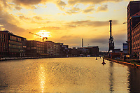 The Harbor and Canal in Münster at the Sunrise