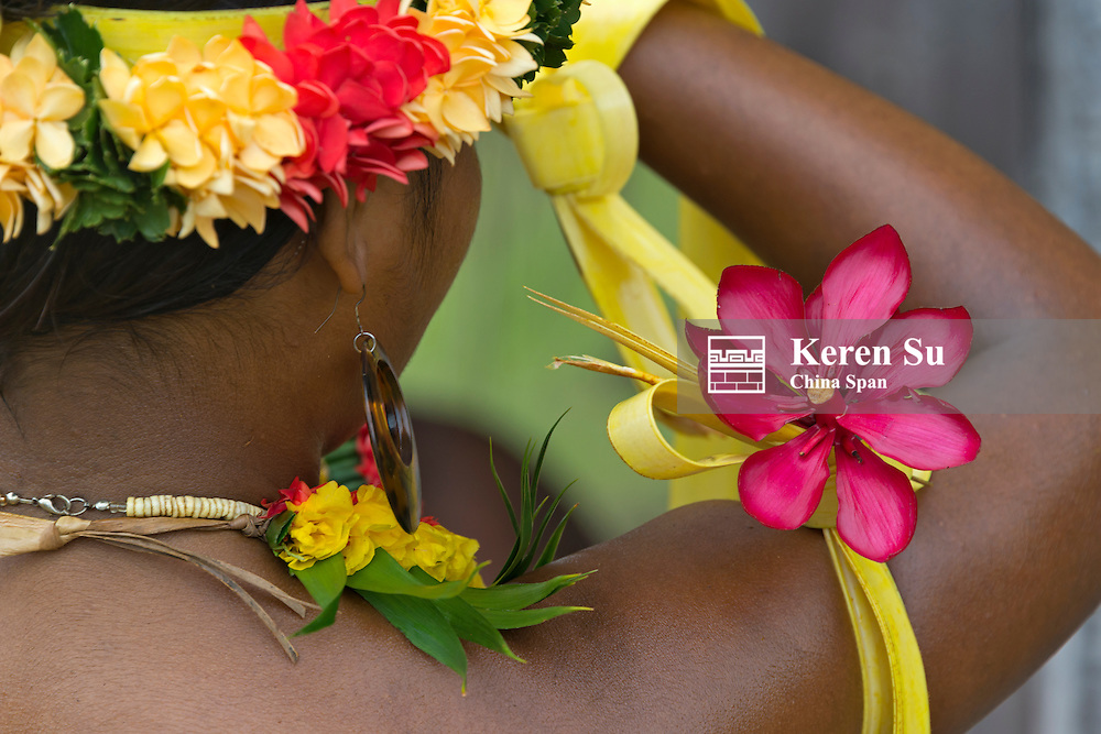 Yapese girl wearing flower at Yap Day Festival, Yap Island, Federated States of Micronesia