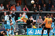 Barnet player Michael Gash attempts a spectacular overhead kick during the Sky Bet League 2 match between Barnet and Wycombe Wanderers at The Hive Stadium, London, England on 15 August 2015. Photo by Bennett Dean.