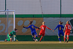 ZENICA, BOSNIA AND HERZEGOVINA - Tuesday, November 28, 2017: Wales' captain Sophie Ingle clears the ball after goalkeeper Laura O'Sullivan saves a penalty from Bosnia and Herzegovina's Milena Nikolić during the FIFA Women's World Cup 2019 Qualifying Round Group 1 match between Bosnia and Herzegovina and Wales at the FF BH Football Training Centre. (Pic by David Rawcliffe/Propaganda)
