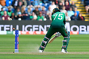 Wicket - Shakib Al Hasan (vc) of Bangladesh is bowled by Ben Stokes of England during the ICC Cricket World Cup 2019 match between England and Bangladesh the Cardiff Wales Stadium at Sophia Gardens, Cardiff, Wales on 8 June 2019.
