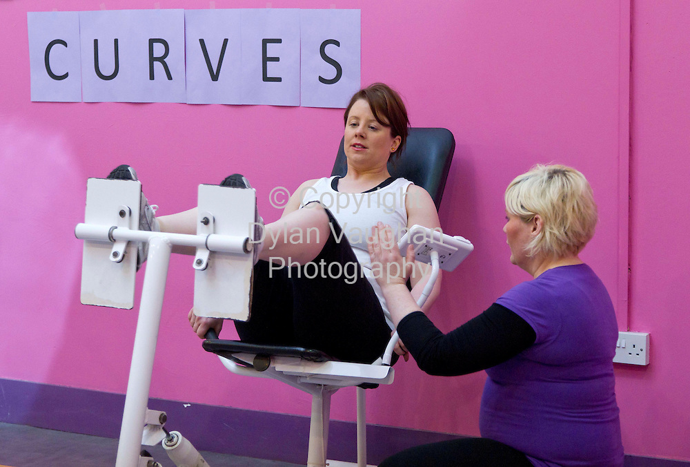 6/3/2012 .Eimear Ni Bhranaoin pictured working out at Curves in Kilkenny..Also in the picture is Enya Kennedy..Picture Dylan Vaughan.