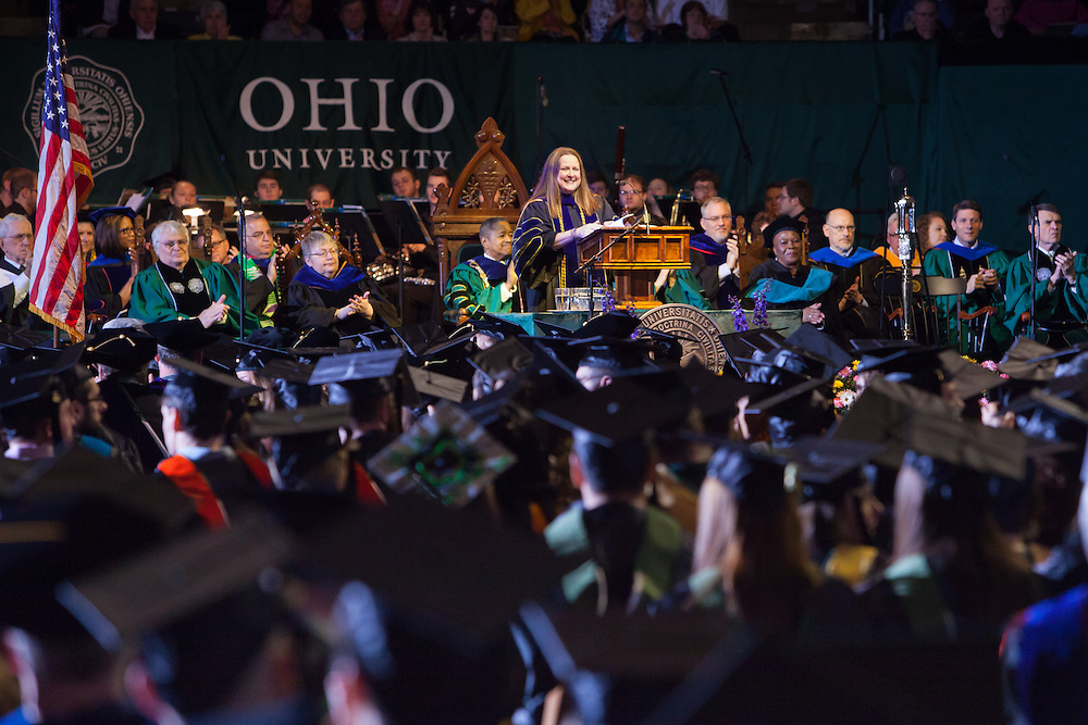 2013 Outstanding Graduate Faculty Award Winner Aimee Edmondson delivers the Commencement Address of the Masters and Doctorate Degree ceremony Friday May 2, 2014.  Photo by Ohio University / Jonathan Adams