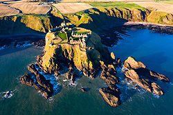 Aerial view of Dunottar Castle in Aberdeenshire, Scotland, UK