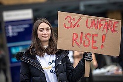 © Licensed to London News Pictures. 02/01/2019. London, UK.Protesters outside King's Cross as passengers begin a 'national day of action' over 3. 1% fare increases. Photo credit: Rob Pinney/LNP