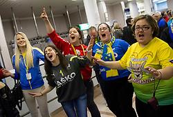 Fans  of Celje celebrate  after the  handball match between RK Celje Pivovarna Lasko and RK Gorenje Velenje in final of Slovenian Cup 2013, on March 3, 2013 in Arena Tri Lilije, Lasko, Slovenia. Celje PL defeated Gorenje Velenje 28-24 and became Slovenian Cup Champion 2013. (Photo By Vid Ponikvar / Sportida)