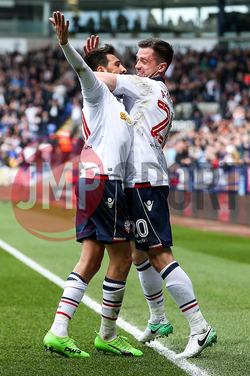 Jem Karacan of Bolton Wanderers celebrates with Andrew Taylor after scoring a goal to make it 1-0 - Rogan Thomson/JMP - 30/04/2017 - FOOTBALL - Macron Stadium - Bolton, England - Bolton Wanderers v Peterborough United - EFL Sky Bet League One.