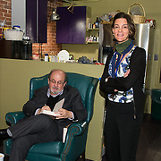 Author Salman Rushdie backstage with Margaret Talcott before speaking at a Writers On A New England Stage show at The Music Hall in Portmouth, NH.