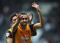 Chuba Akpom (L) and Ahmed Elmohamady of Hull City celebrate at the final whistle - Mandatory by-line: Jack Phillips/JMP - 14/05/2016 - FOOTBALL - iPro Stadium - Derby, England - Derby County v Hull City - Sky Bet Championship Play-Off Semi-Final First-Leg