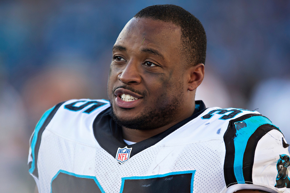 NASHVILLE, TN - NOVEMBER 15:  Mike Tolbert #35 of the Carolina Panthers on the sidelines during a game against the Tennessee Titans at Nissan Stadium on November 15, 2015 in Nashville, Tennessee.  (Photo by Wesley Hitt/Getty Images) *** Local Caption *** Mike Tolbert