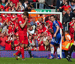 27.04.2014, Anfield, Liverpool, ENG, Premier League, FC Liverpool vs FC Chelsea, 36. Runde, im Bild Liverpool's captain Steven Gerrard looks dejected at the final whistle as Chelsea's ultra defensive play leads to a 2-0 victory // during the English Premier League 36th round match between Liverpool FC and Chelsea FC at Anfield in Liverpool, Great Britain on 2014/04/27. EXPA Pictures © 2014, PhotoCredit: EXPA/ Propagandaphoto/ David Rawcliffe<br /> <br /> *****ATTENTION - OUT of ENG, GBR*****