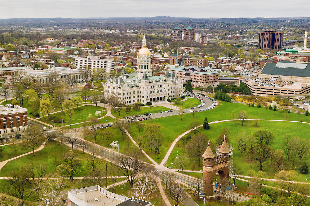 Connecticut capitol building over Bushnell park