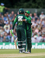 EDINBURGH, SCOTLAND - JUNE 12: Shoaib Malik of Pakistan reaches 50 during the International T20 Friendly match between Scotland and Pakistan at the Grange Cricket Club on June 12, 2018 in Edinburgh, Scotland. (Photo by MB Media/Getty Images)