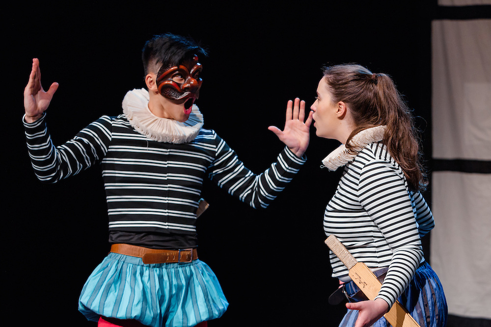 Welcome to the mad, bad, sad world of the Bard &ndash; Commedia style&hellip; Much dell&rsquo;Arte About Nothing is a hilarious mash-up of Shakespeare&rsquo;s works, presented in the Commedia dell&rsquo;Arte tradition. Utilising slapstick, masks, stage combat, dance and stock characters, watch familiar Shakespearean references be transformed and invigorated &ndash; all with a good dose of irreverence!<br /> <br /> Cast<br /> Emily McGowan<br /> Nicholas O'Regan<br /> George Zhao<br /> <br /> Director, Scott Parker<br /> Design and Realisation, Aleisa Jelbart<br /> Dramaturg and Sound Design, Kathryn Parker<br /> Lighting Design, Martin Kinnane<br /> Movement Director, Nicholas O'Regan<br /> Production Manager, Faith Treacy<br /> <br /> Photos by Robert Catto, on Monday 12 September, 2016 at Lend Lease Theatre in Darling Harbour, Sydney.