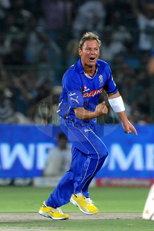 Shane Warne captain of Rajasthan Royals celebrates the wicket of Brad Hodge of Kochi Tuskers Kerala during match 28 of the Indian Premier League ( IPL ) Season 4 between the Rajasthan Royals and the Kochi Tuskers Kerala held at the Sawai Mansingh Stadium, Jaipur, Rajatshan, India on the 24th April 2011..Photo by Pal Pillai/BCCI/SPORTZPICS.