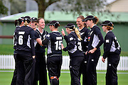 White Ferns celebrate Laura Marsh's dismissal during the 2nd InternationaI one day cricket match between New Zealand White Ferns and England at Bert Sutcliffe Oval, Lincoln University, Christchurch, New Zealand on Saturday 3 March 2012. Photo: Richard Connelly / photosport.co.nz