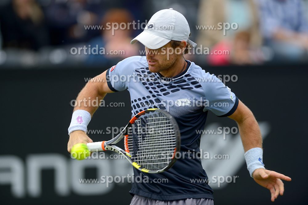 20150608 NED: Topshelf Open, Rosmalen<br /> Robin Haase of Netherlands vs Blaz Kavcic  of Slovenia (at photo) in 1st Round of International Tennis Tournament De Topshelf Open 2015, on June 8, 2015 in Rosmalen, Netherlands. Haase won in two sets (6-2,7-5). Photo by Ronald Hoogendoorn / Sportida