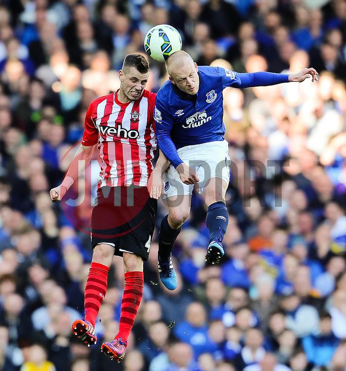 Everton's Steven Naismith wins a header against Southampton's Morgan Schneiderlin  - Photo mandatory by-line: Matt McNulty/JMP - Mobile: 07966 386802 - 04/04/2015 - SPORT - Football - Liverpool - Goodison Park - Everton v Southampton - Barclays Premier League
