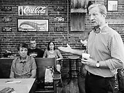 21 SEPTEMBER 2019 - DES MOINES, IOWA: TOM STEYER talks to Iowa voters in a Des Moines coffee shop during a campaign appearance Saturday. Steyer, a California businessman, is running to be the Democratic nominee for President in the 2020 election. He is also pushing the Democrats in Congress to impeach President Trump. Iowa traditionally hosts the first event of the presidential selection cycle. The Iowa Caucuses are on February 3, 2020.             PHOTO BY JACK KURTZ