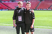 FGR press officer Richard Joyce and team Helper Noah Dougherty during the Vanarama National League Play Off Final match between Tranmere Rovers and Forest Green Rovers at Wembley Stadium, London, England on 14 May 2017. Photo by Shane Healey.