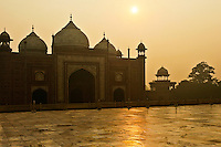 Taj Mahal at sunset with empty plaza, India. Exotic destinations prints for sale. Fine art photography, wall art, stock images.