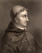 Francisco, Cardinal Jimenez (Ximenes) de Cisneros (1436-1517) Spanish Roman Catholic statesman, Regent of Spain and Grand Inquisitor.  Funded the production of the first polyglot 'Bible'  Engraving from 'The Gallery of Portraits' Vol VI by Charles Knight (London, 1836).
