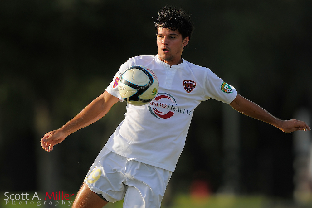 Orlando City midfielder Anthony Arico (19) during Orlando City's 2-1 win over Laredo Heat in their PDL Southern Conference Championships playoff game at Trinity Catholic High Schooll on July 20, 2012 in Ocala, Florida. ..©2012 Scott A. Miller