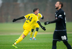 Dennis Novak of 1st TFC celebrates after scoring first goal for 1st TFC during friendly football match between NK Fantazisti (SLO) and 1st TFC - First Tennis & Football Club (AUT) presented by professional and former tennis players, on November 25, 2017 in Nacionalni nogometni center Brdo pri Kranju, Slovenia. Photo by Vid Ponikvar / Sportida