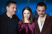 Director and Screenwriter Christian Petzold, Franz Rogowski and Paula Beer at the photocall for the film Undine at the 70th Berlinale International Film Festival, on Sunday 23rd February 2020, Hotel Grand Hyatt, Berlin, Germany. Photo credit: Doreen Kennedy
