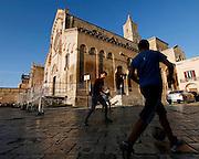 Matera, football players in Piazza Duomo