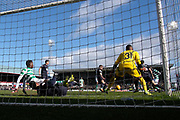 17th March 2019, Dens Park, Dundee, Scotland; Ladbrokes Premiership football, Dundee versus Celtic; Odsonne Edouard of Celtic scores the only goal of the game in in the 96th minute
