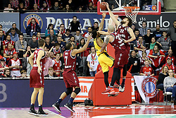 09.12.2017, Audi Dome, Muenchen, GER, EasyCredit BBL, FC Bayern Muenchen Basketball vs MHP Riesen Ludwigsburg, 12. Runde, im Bild Danilo Barthel (Muenchen) blockt den Wurf von Dwayne Evans (Ludwigsburg) // during the easyCredit Basketball Bundesliga 12th round match between MHP Riesen Ludwigsburg and 12.Spieltag at the Audi Dome in Muenchen, Germany on 2017/12/09. EXPA Pictures &copy; 2017, PhotoCredit: EXPA/ Eibner-Pressefoto/ Marcel Engelbrecht<br /> <br /> *****ATTENTION - OUT of GER*****