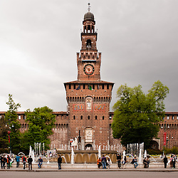 MILAN, ITALY - APRIL 7: Castello Sforzesco main entrance in Milan on April 7, 2012, The castle, built in the 15th century, is one of the biggest citadels in Europe and houses today museums and art collections.