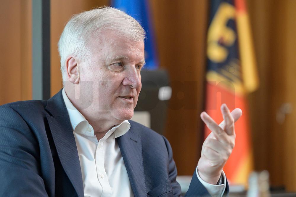 01 JUL 2019, BERLIN/GERMANY:<br /> Horst Seehofer, CSU, Bundesinnenminister, waehrend einem Interview, in seinem Buero, Bundesministerium des Inneren<br /> IMAGE: 20190701-01-055<br /> KEYWORDS: Büro