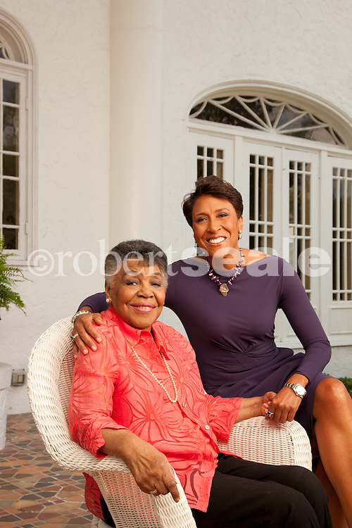 ABC Good Morning America anchor Robin Roberts, with her mother Lucimarian Roberts at the Oak Hill Mansion in Pass Christian, Mississippi on Friday April 20, 2012.  © 2012 Robert Seale