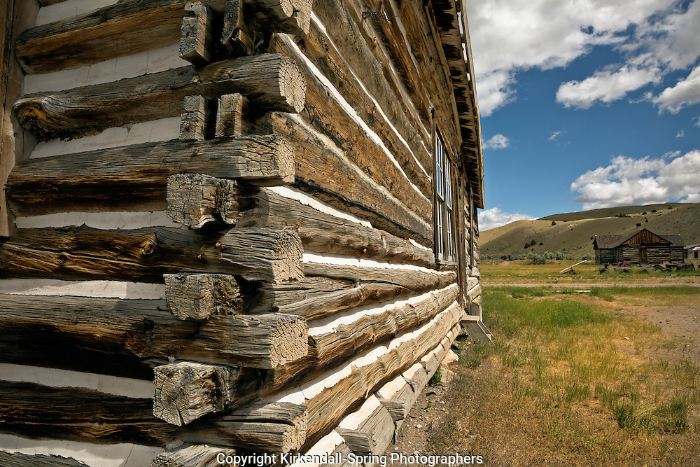 MT00065-00...MONTANA - Buildings built from logs at the ghost town of Bannack in Bannack State Park.