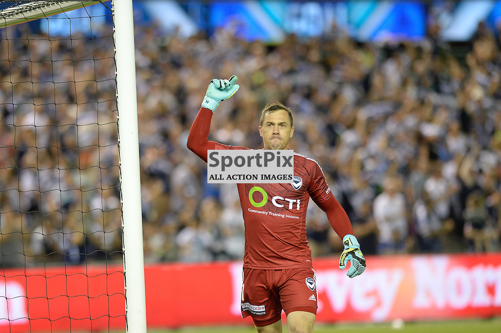 Danny Vukovic (GK) of Melbourne Victory celebrates the own goal by Matthew Jurman of Sydney FC - Hyundai A-League (Australia Day) - January 26th 2016 - RD16 - Melbourne Victory FC v Sydney FC at Etihad Stadium, Docklands, Melbourne, Australia in a 1:0 win to Victory - © Mark Avellino | SportPix.org.uk