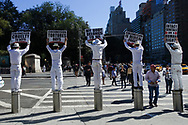 An anti-circumsision demonstration at Columbus Circle