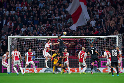 13-08-2019 NED: UEFA Champions League AFC Ajax - Paok Saloniki, Amsterdam<br />  Ajax won 3-2 and they will meet APOEL in the battle for a group stage spot / Jose Angel Crespo #15 of PAOK, Daley Blind #17 of Ajax, André Onana #24 of Ajax, Joël Veltman #3 of Ajax