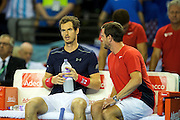 Andy Murray of Great Britain chats with Leon Smith, team captain of Great Britain at a change of ends during the 2016 Davis Cup Semi Final at the Emirates Arena, Glasgow, United Kingdom on 18 September 2016. Photo by Craig Doyle.
