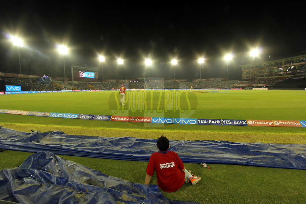 Gv of ground during match 13 of the Vivo Indian Premier League ( IPL ) 2016 between the Kings XI Punjab and the Kolkata Knight Riders held at the IS Bindra Stadium, Mohali, India on the 19th April 2016<br /> <br /> Photo by Arjun Singh / IPL/ SPORTZPICS